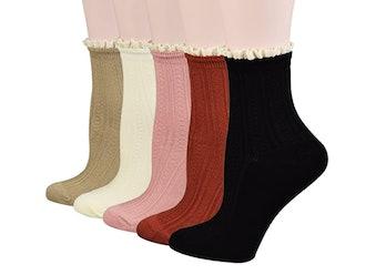 Fitu Ruffle Trim Ankle Socks (5-Pack)