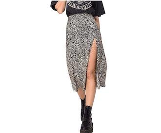 Sunloudy Printed Split Skirt