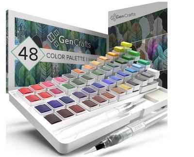 GenCrafts Watercolor Palette with Bonus Paper Pad