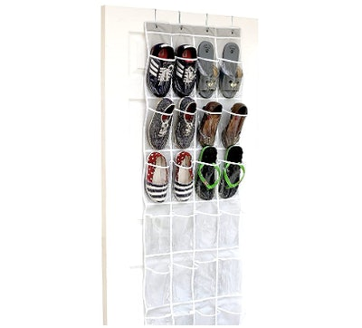 SimpleHouseware Crystal Clear 24-Pocket Over The Door Hanging Shoe Organizer