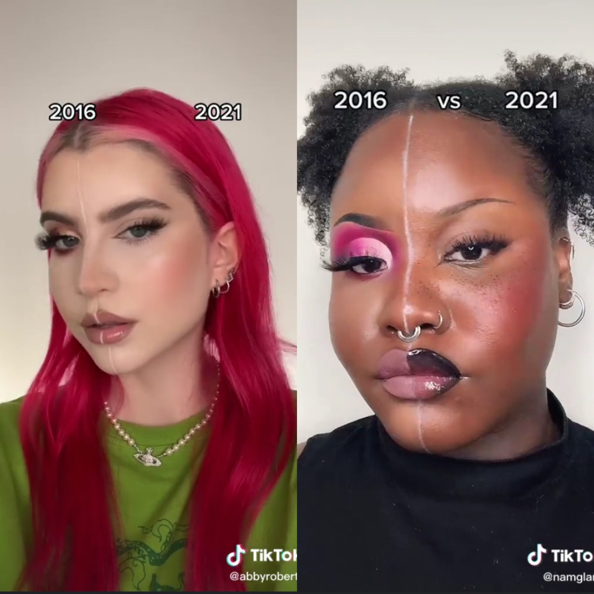 Abby Robters and namglami comparing 2016 and 2021 makeup trends on TikTok.