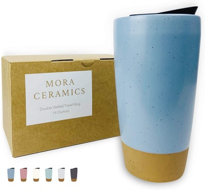 Mora Double-Wall Ceramic Coffee Travel Mug