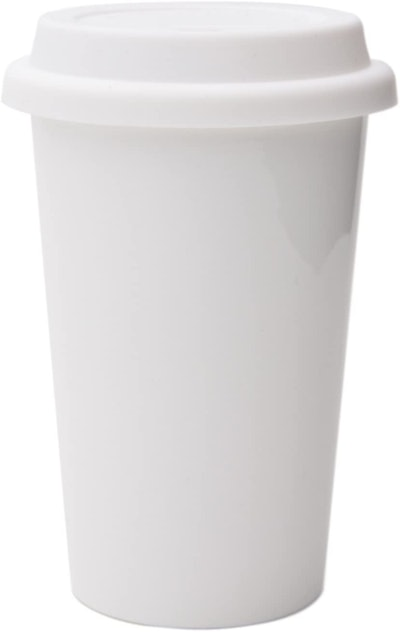 UDMG Reusable Double Wall Insulated White Ceramic Travel Coffee Cup