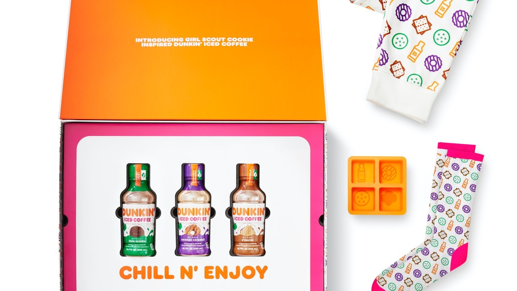 Dunkin's Girl Scout Cookie-inspired bottled ice coffees and merch pay tribute to the iconic treats.