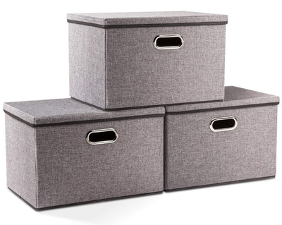 Prandom Collapsible Storage Bins with Lids (3-Pack)