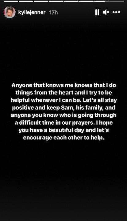 Slide two of Kylie Jenner's Instagram Story explanation of her support for makeup artist Sam Rauda