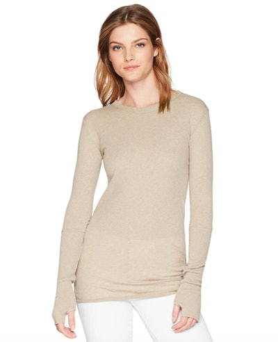 Enza Costa Cashmere Blend Crewneck Sweater With Thumbholes