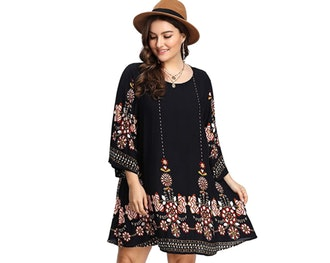 Romwe Plus Size Print Dress