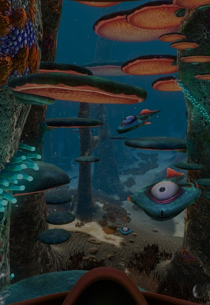 first-person view of undersea creatures from subnautica