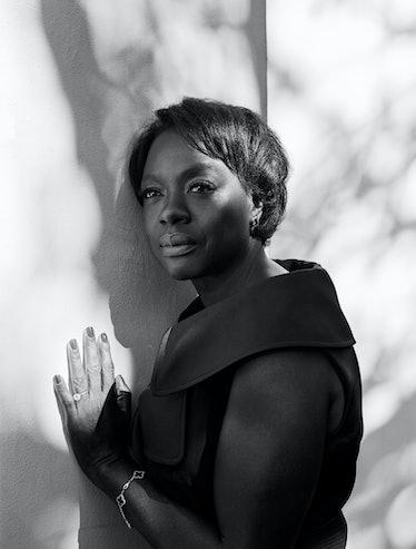 Viola Davis wears an Alexander McQueen dress; Van Cleef & Arpels earrings and bracelet; her own ring...