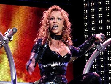Britney Spears in black leatherette.