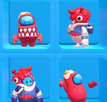 among us fall guys imposter outfit red crewmate skin