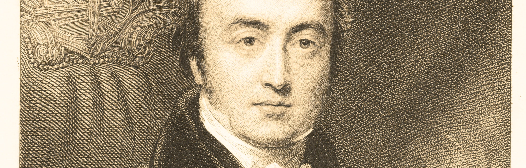 illustration engraving of bald man