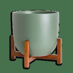 Ceramic 10-Inch Planter & Wood Stand