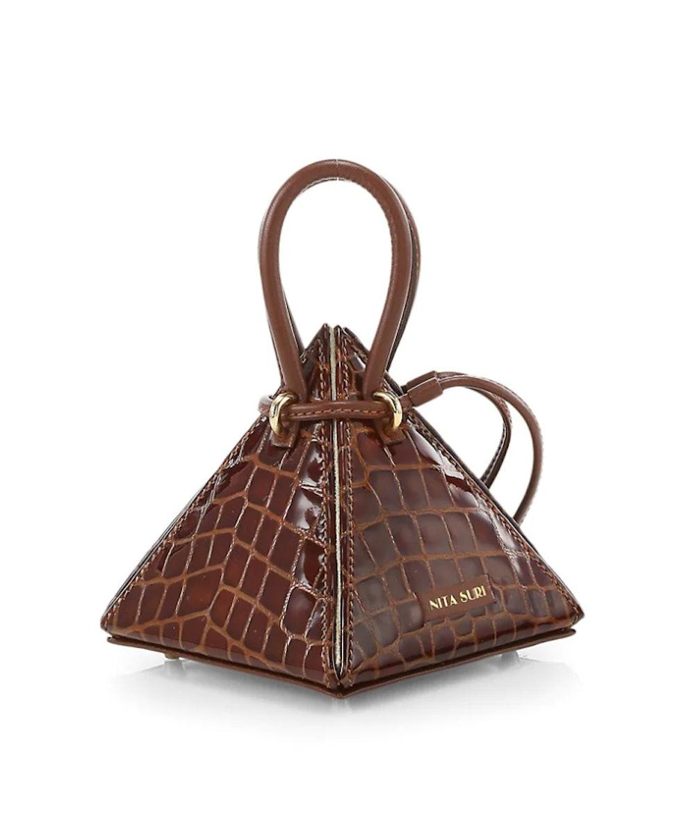 Lia Croc-Embossed Leather Pyramid Top Handle Bag
