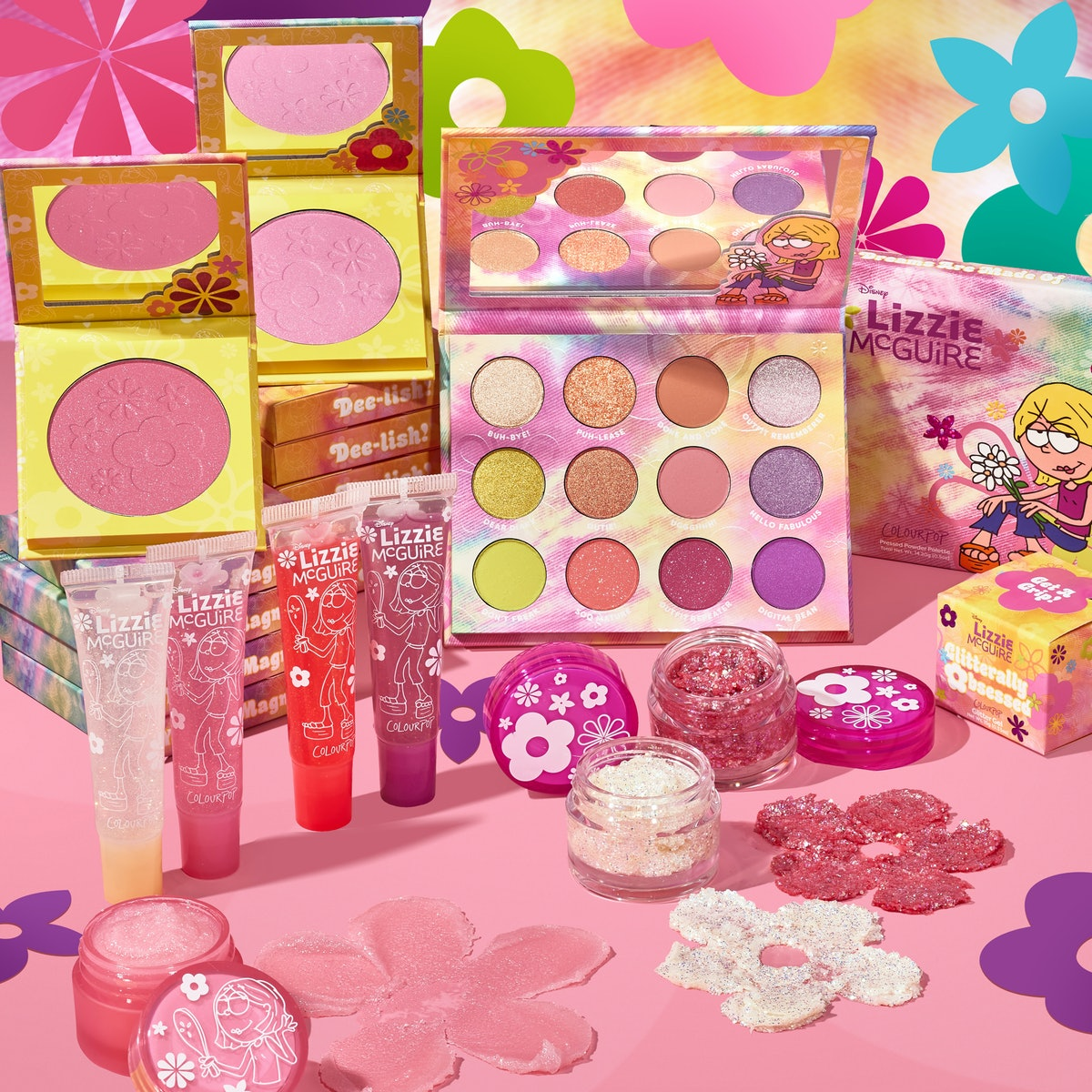 """All the products from ColourPop's """"Lizzie McGuire"""" collection."""