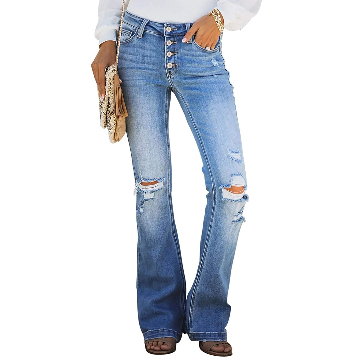 Astylish Button-Fly Ripped Flare Jeans