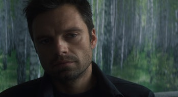 Sebastian Stan as Bucky Barnes in The Falcon and the Winter Soldier Episode 1