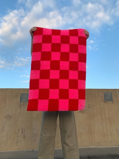 Checker Print Hand Tufted Rug