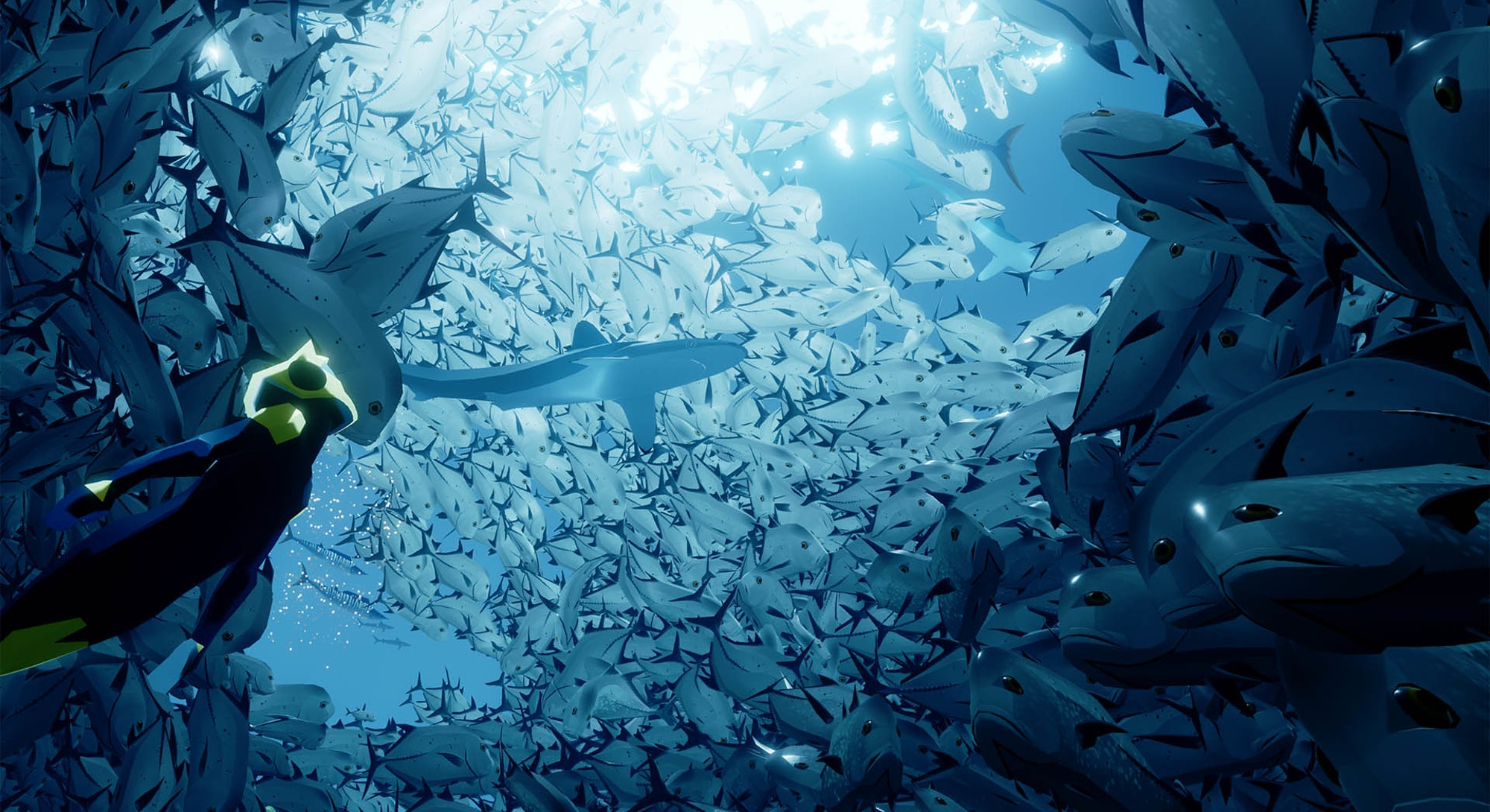 diver in sea of white fish from abzu