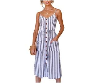 Angashion Button Down Midi Dress