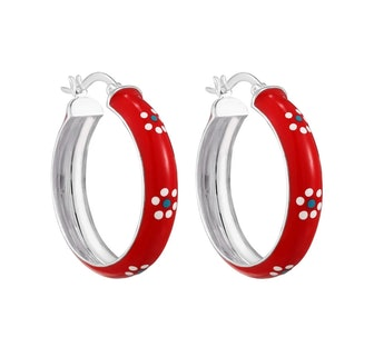 Sterling Silver Red With White Flower Enamel Large Hoops
