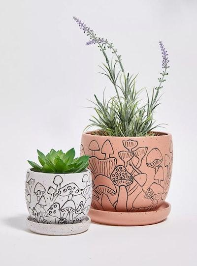Large Mushroom Plant Pot & Tray