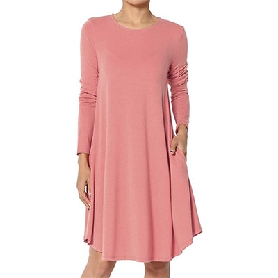 TheMogan Long Sleeve Mock Neck Jersey A-Line Dress
