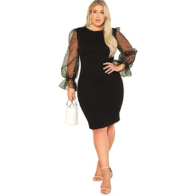 SheIn Plus Size Mesh Contrast Sleeve Pencil Dress