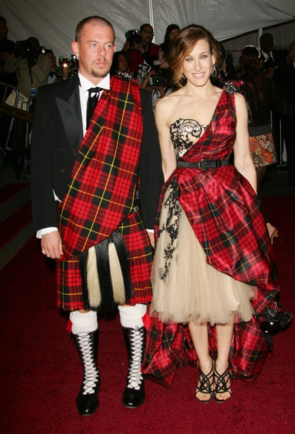 Actress Sarah Jessica Parker with designer Alexander McQueen attend the Metropolitan Museum of Art C...
