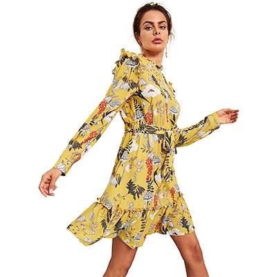 Floerns Long Sleeve Ruffle Trim Floral Print Dress