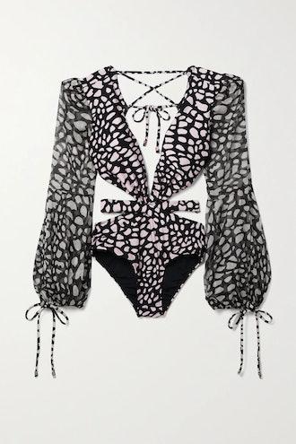Cutout Printed Chiffon-Paneled Swimsuit