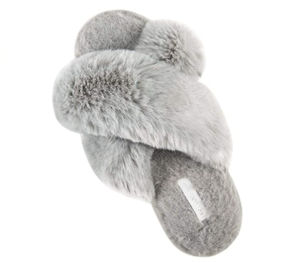 HALLUCI Fuzzy Cross Band Slippers