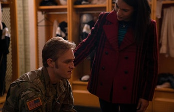 Wyatt Russell as John Walker and Gabrielle Byndloss as Olivia Walker in The Falcon and the Winter Soldier