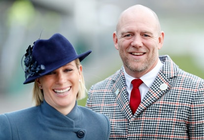 Zara Tindall and Mike Tindall attend day 3 'St Patrick's Thursday' of the Cheltenham Festival 2020 at Cheltenham Racecourse on March 12, 2020 in Cheltenham, England. (