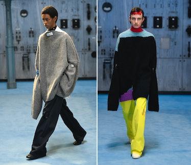 Three models wearing Raf Simons fall 2021