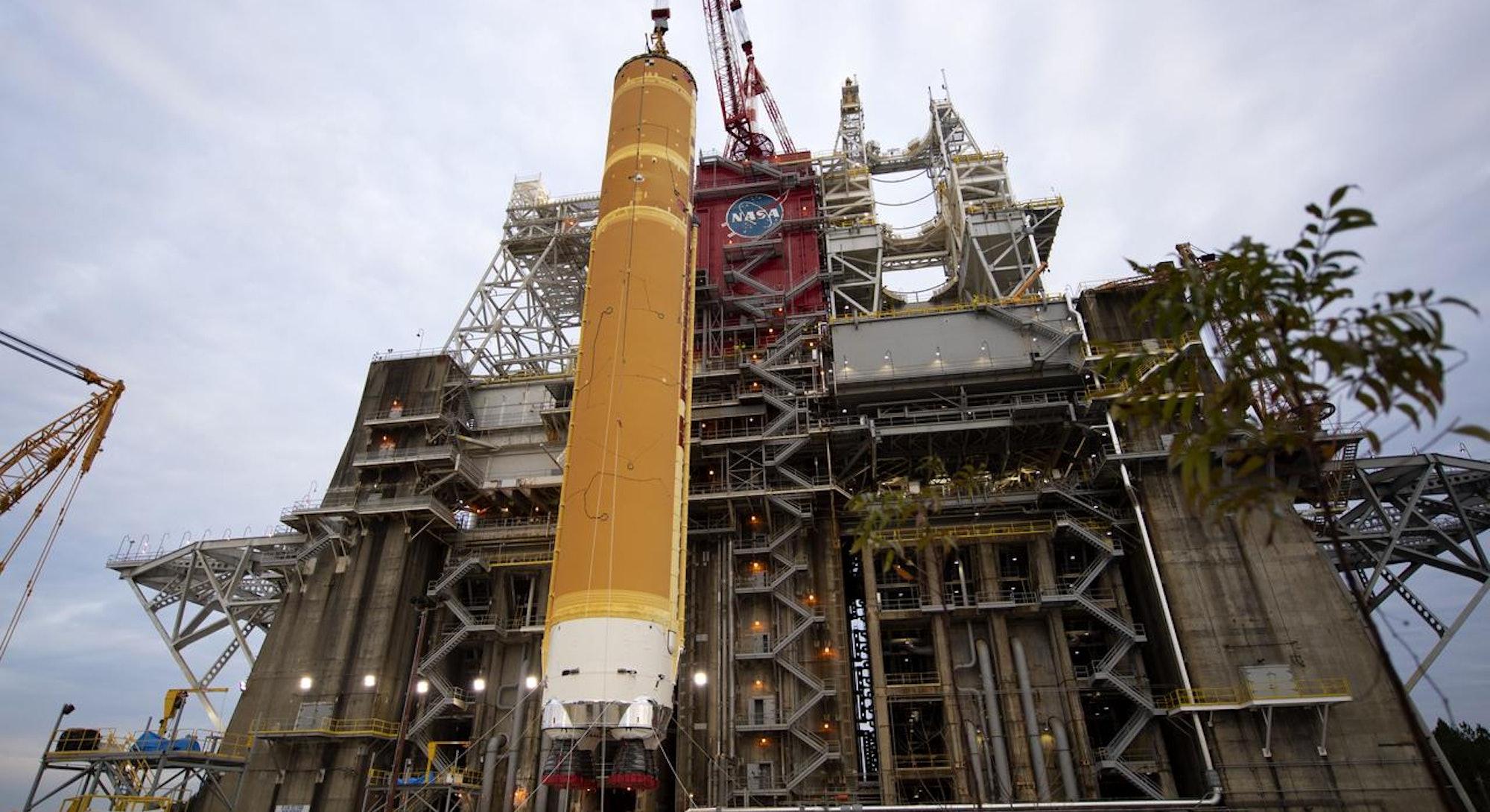 NASA SLS rocket core preparing for hot fire test