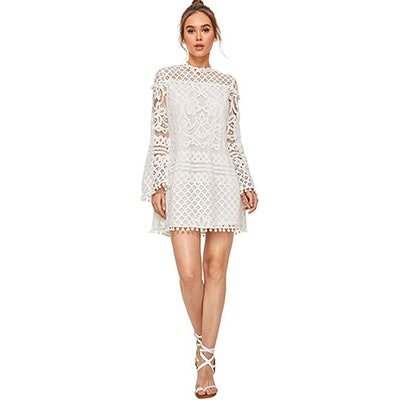 SheIn Lace Bell Sleeve Dress