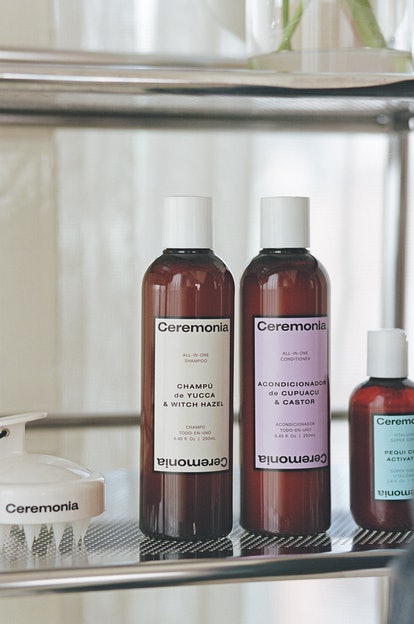 Ceremonia's new shampoo and conditioner in bottles.