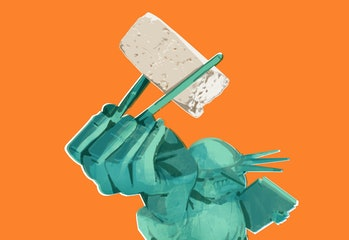 The State of Liberty holding a piece of tofu.