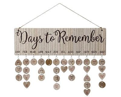 Wooden Birthdays Reminder Calendar Plaque