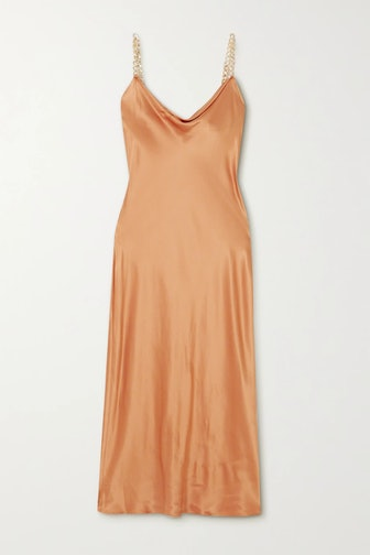 Bibi chain-embellished silk-satin midi dress