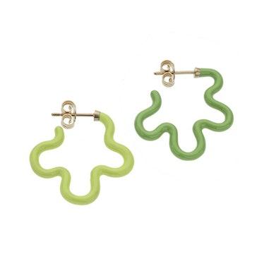 2 Tone Asymmetrical Flower Power Earrings