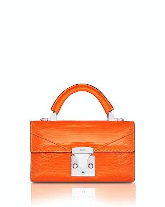 Mini Lizard Top Handle Bag, Bright Orange