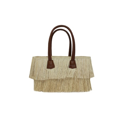 Mini Frayed Straw Tote With Leather Handles
