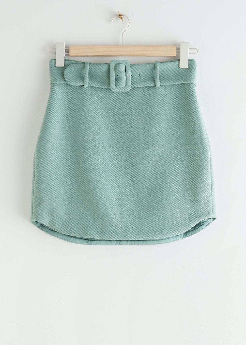 Buckle Belt Mini Skirt