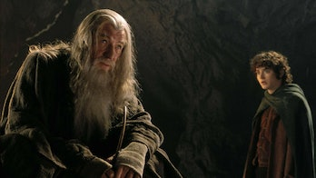 Gandalf and Frodo in Moria in Lord of the Rings: Fellowship of the Ring