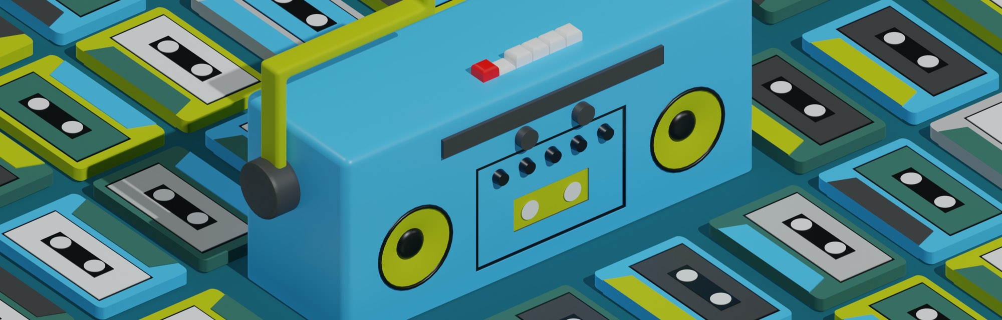 3d illustration of a compact tape player and cassette