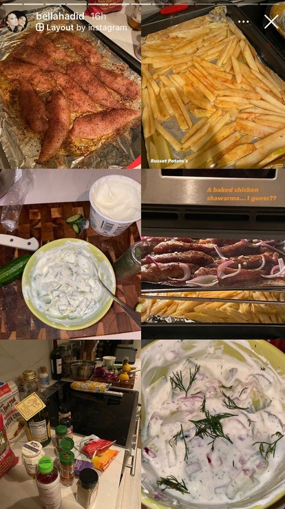 Bella Hadid baked chicken schwarma