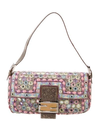 Embellished Lizard-Trimmed Baguette Bag